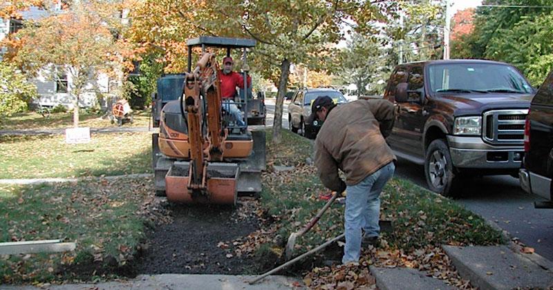 Sidewalk getting fixed